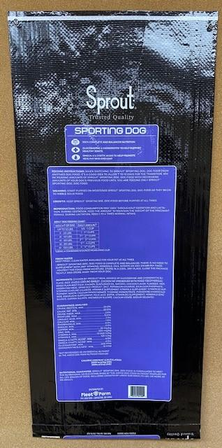 """6. """"Sprout, Sporting Dog, 40 lbs, back label"""""""