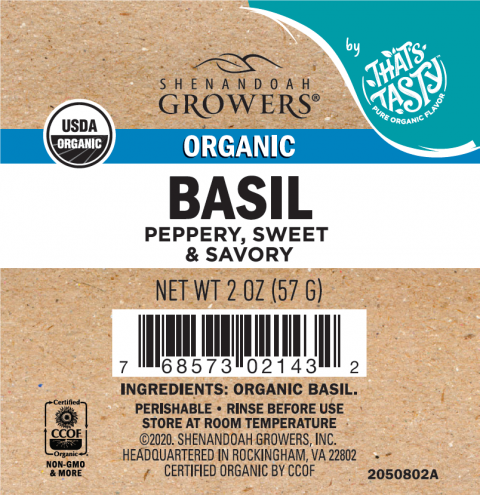 Shenandoah Growers, Organic Basil, 2 oz.