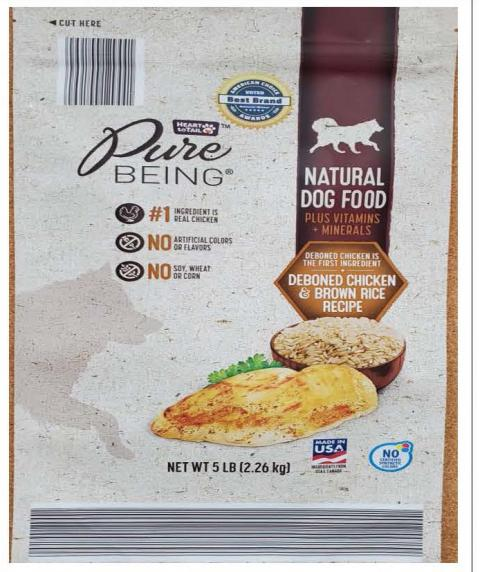 Front Image – Heart to Tail Pure Being Natural Dog Food Deboned Chicken & Brown Rice Recipe 5 lbs.