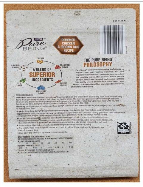 Back Image – Heart to Tail Pure Being Natural Dog Food – Ingredient Statement