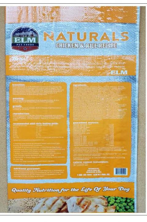 Back Image – Elm Pet Foods – Ingredient Statement