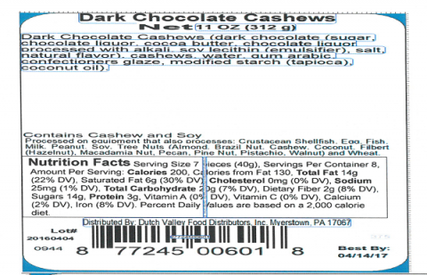 Label, Dark Chocolate Cashews