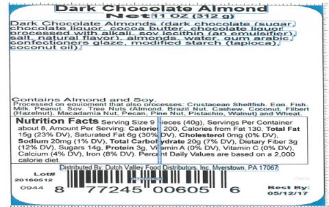 Label, Dark Chocolate Almonds