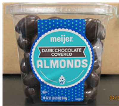 Photo Front Label:  meijer DARK CHOCOLATE COVERED ALMONDS