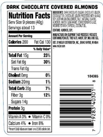 Nutrition Facts Label, DARK CHOCOLATE COVERED ALMONDS