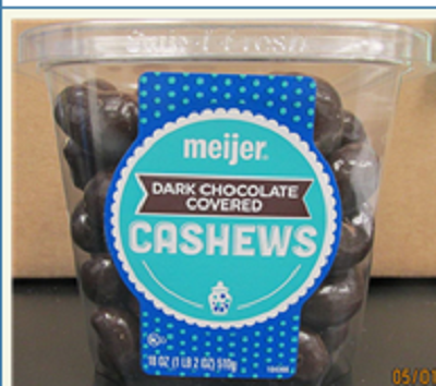 Photo Front Label:  meijer DARK CHOCOLATE COVERED CASHEWS