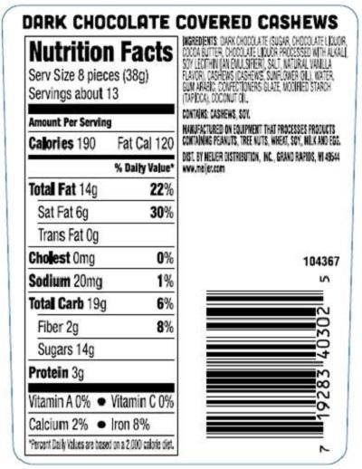 Nutrition Facts Label, DARK CHOCOLATE COVERED CASHEWS