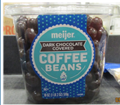 Photo Front Label:  meijer DARK CHOCOLATE COVERED COFFEE BEANS