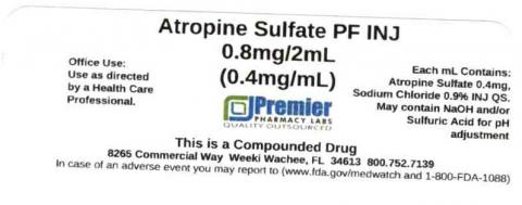 Atropine Sulfate PF INJ, 0.8mg/mL (0.4mg/mL), Premier Pharmacy Labs