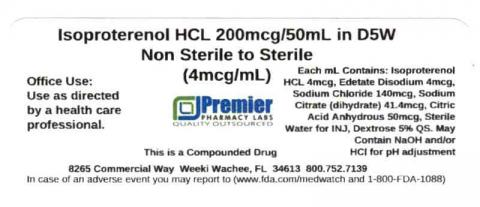 Isoproterenol HCL in D5W, Non Sterile to Sterile, 200mcg/50mL (4mcg/mL), Premier Pharmacy Labs