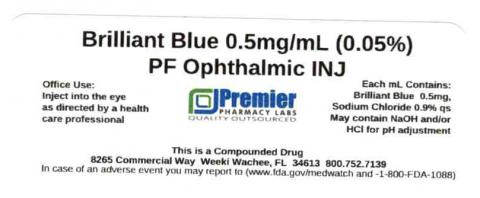 Brilliant Blue 0.5mg/mL (0.05%) PF Ophthalmic INJ, Premier Pharmacy Labs