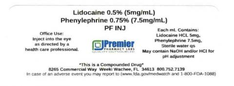 Lidocaine 0.5% / Phenylephrine 0.75% (7.5mg/mL)  PF INJ, Premier Pharmacy Labsq
