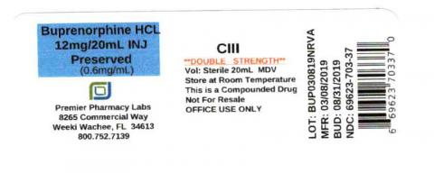Buprenorphine HCL 12mg/20mL INJ, Preserved (0.6mg/mL), Sterile, Premier Pharmacy Labs