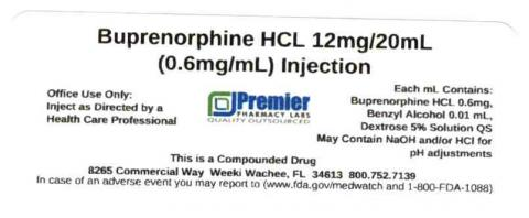 Buprenorphine HCL 12mg/20mL (0.6mg/mL), Injection, Premier Pharmacy Labs