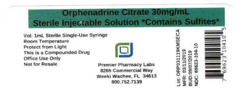 Orphenadrine Citrate 30mg/mL, Sterile Injectable Solution Contains Sulfites, Premier Pharmacy Labs