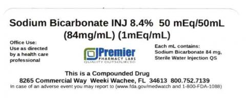 Sodium Bicarbonate INJ, 8.4% 50 mEq/50mL (84mg/mL) (1 mEq/mL), Premier Pharmacy Labs