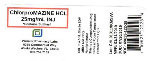ChlorproMAZINE HCL 25mg/mL INJ, Contains Sulfites,  Premier Pharmacy Labs
