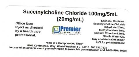 Succinylcholine Chloride, 100mg/5mL (20mg/mL), Premier Pharmacy Labs