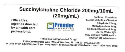 Succinylcholine Chloride, 200mg/10mL (20mg/mL), Premier Pharmacy Labs