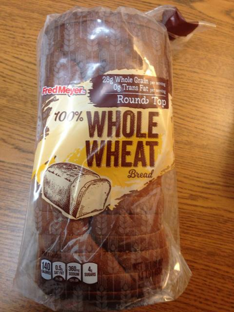 """Picture, Fred Meyers 100% Whole Wheat Bread, front panel"""