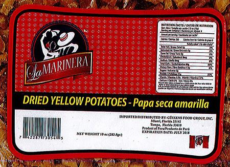 Label, La Marinera Dried Yellow Potatoes
