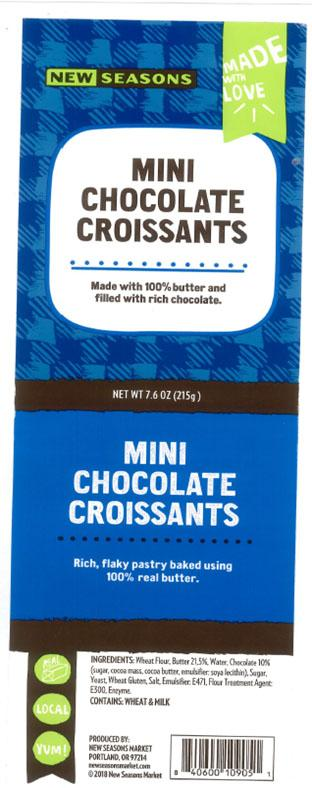 Product label with UPC and Ingredients list for New Seasons Mini Chocolate Croissants Net Wt 7.6 oz (215g)