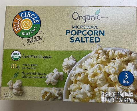 Label, Full Circle Organic Microwave Popcorn Salted