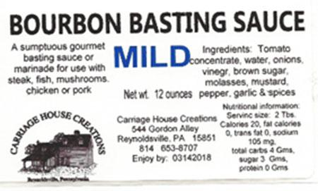 Mild Bourbon Basting Sauce, 12 oz., label