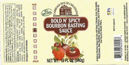 Bold and Spicy Bourbon Basting Sauce, 12 oz., label