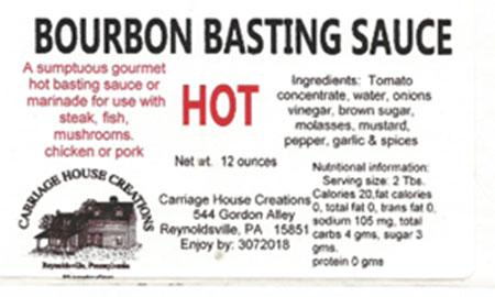 Hot Bourbon Basting Sauce, 12 oz., label