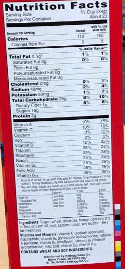Nutrition panel - 23 oz package