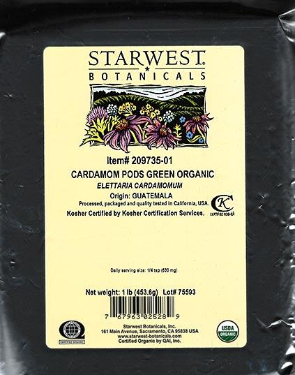Front of package, Starwest Botanicals Cardamom Pods