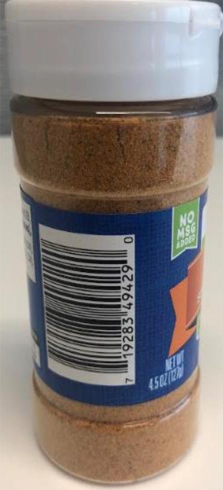 Product image, side view showing UPC, Meijer Taco Seasoning Mix 4.5 OZ