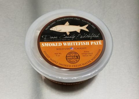 Product image, plastic container top lid view Door County Whitefish Smoked Whitefish Pate