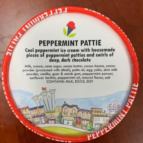 Top label, Peppermint Pattie Ice Cream