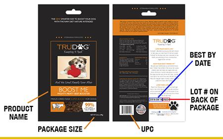 Product label front and back showing location of product name, size, and codes