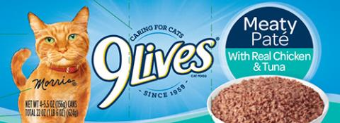 Label, 9Lives Meaty Pate Chicken and Tuna