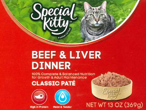 Label, Special Kitty Beef and Liver Dinner