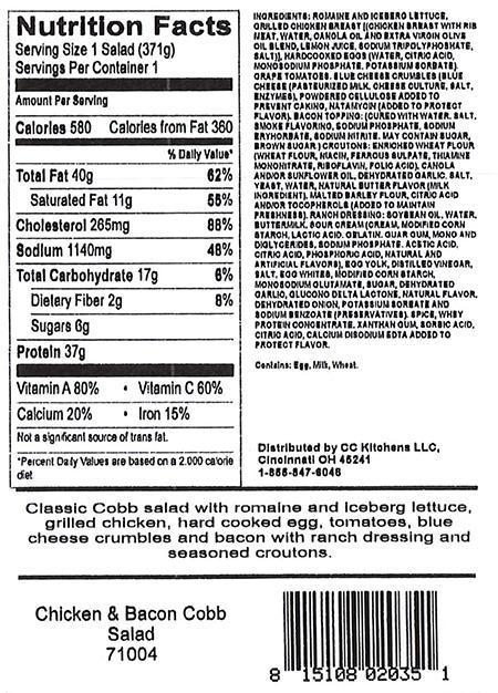 Chicken & Bacon Cobb Salad, back label, Item # 71004