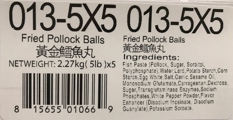 Ingredient Statement: Fried Pollock Balls 5lb x 5, Item #013