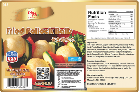 Nutrition Facts Panel: Fried Pollock Balls 8 oz (0.5lb) x 30, Item #013