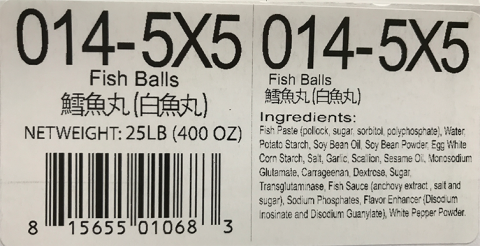 Ingredient Statement: Fish Balls 5 lb X 5, Item #014