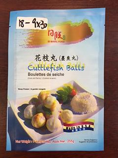 Front Panel: Cuttlefish Balls 255g (9 oz) x 30, Item# 018