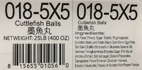 Ingredient Statement: Cuttlefish Balls 5lb x 5, Item # 018