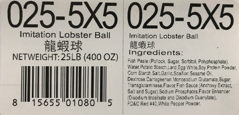 Ingredient Statement: Imitation Lobster Ball 5lb x 5, Item# 025