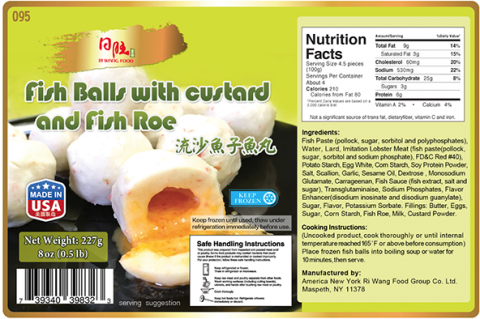 Nutrition Facts Panel: Fish Balls with custard and Fish Roe 8 oz (0.5lb), Item# 095