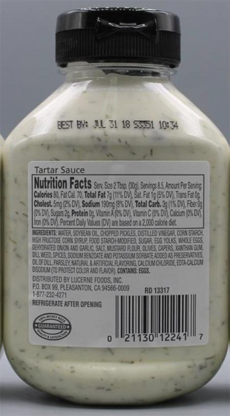 """Correct back label for waterfront BISTRO Tartar Sauce"""