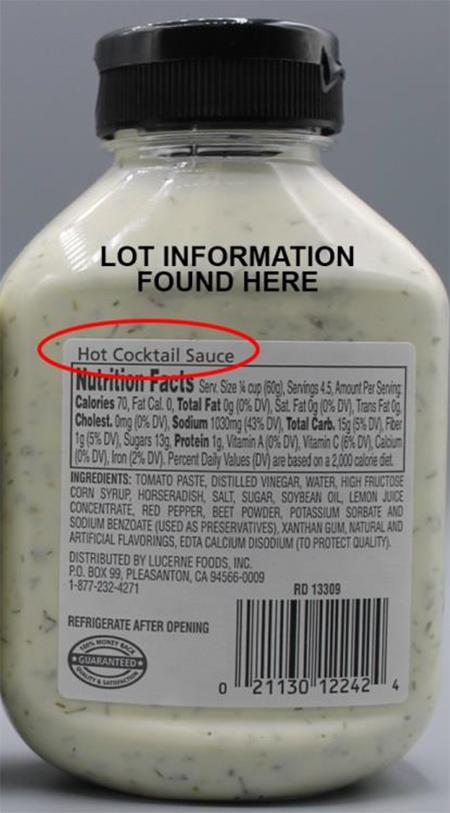 """Incorrect back label showing Hot Cocktail Sauce instead of Tartar Sauce"""