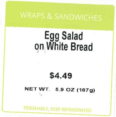 Front Label, Wraps and Sandwiches Egg Salad on White Bread, 5.9 oz.