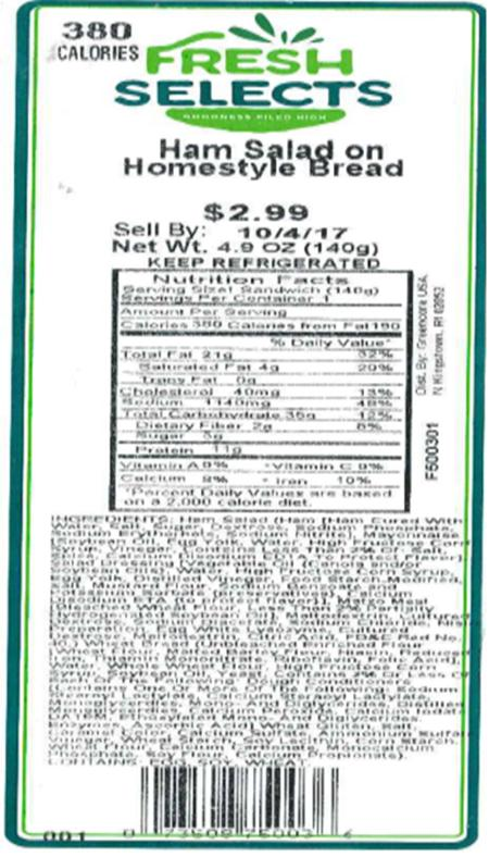 Label, Fresh Selects Ham Salad on Homestyle Bread, 4.9 oz.